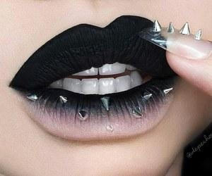 black, lips, and makeup image