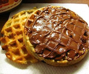 food, waffles, and nutella image