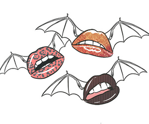 lips, bat, and illustration image