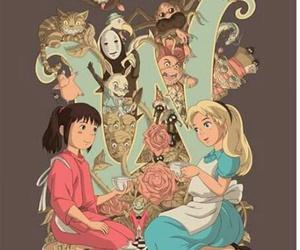 alice in wonderland, chihiro, and spirited away image