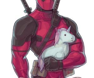 deadpool, unicorn, and Marvel image