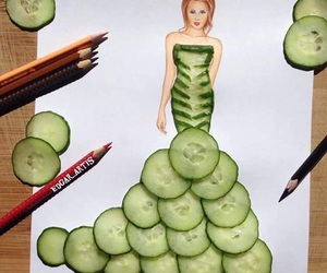 art, drawing, and cucumber image