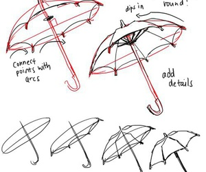 drawing, tutorial, and umbrella image