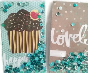 cupcake, sequins, and stationery image