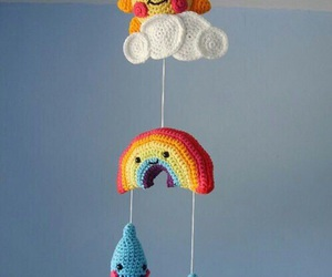 clouds, crochet, and rainbow image