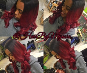 red ombre, sew in weave, and myasia smalls image