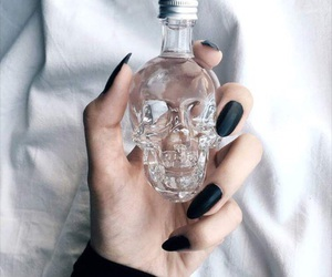black, nails, and skull image