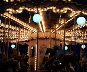 carousel, horse, and lights image