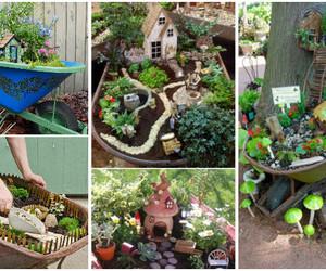 gardening, fair garden diy ideas, and wheel barrow fairy garden image
