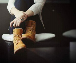 girl, shoes, and timberland image