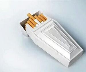 cigarette, smoke, and coffin image