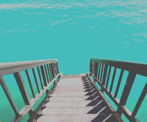 ocean, beach, and stairs image