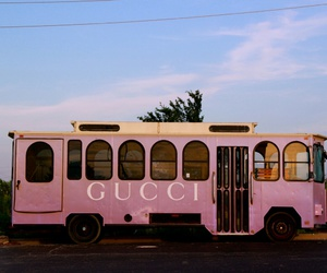 gucci, pink, and bus image
