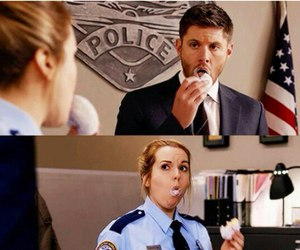 supernatural, dean winchester, and donuts image
