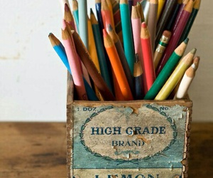 pencil, vintage, and colorful image