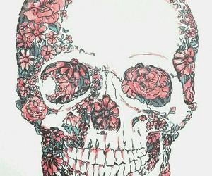 skull, flowers, and wallpaper image