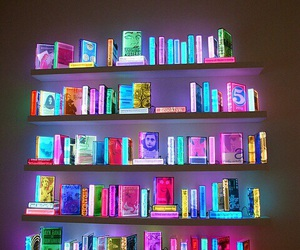 book, neon, and light image