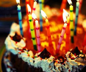 cake, candle, and birthday image