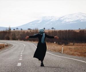 girl, hijab, and road image