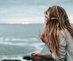hair, beach, and ocean image