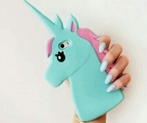 unicorn, iphone, and blue image