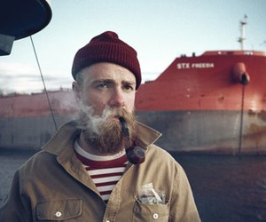 beard, ship, and smoking image