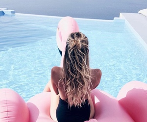 summer, pool, and hair image