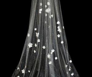 veil, wedding, and flower image
