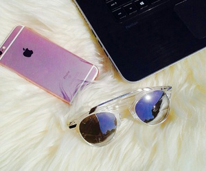 sunglasses, iphone, and laptop image