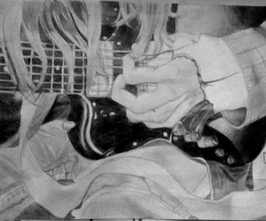 cobain, drawing, and electric guitar image