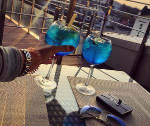 drink, cocktail, and blue image