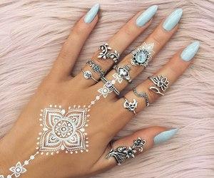 nails, henna, and girls image
