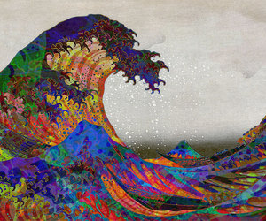 art, colourful, and wave image