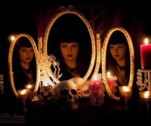 candle, gothic, and mirror image