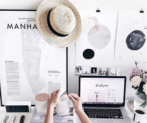 desk, home, and white image