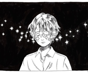 boy, stars, and art image