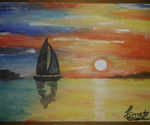 boat, sea, and mypainting image