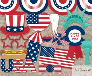 4th of july, usa flag, and happy birthday america image