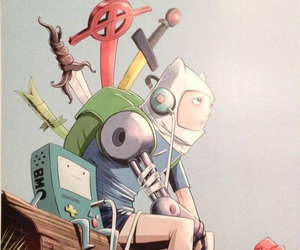 bmo, finn, and adventure time image