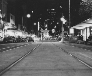 black and white, city, and street image
