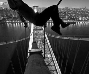 bridge, black and white, and city image