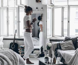 girl, home, and white image