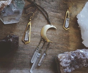 moon, crystal, and boho image