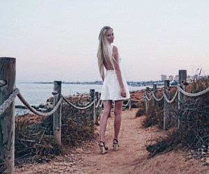 beach, blonde, and dress image