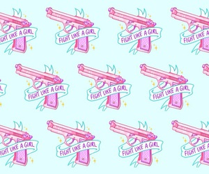 background, pink, and pistols image