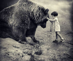 bear, child, and black and white image