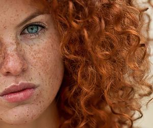 redhead, freckles, and curly hair image