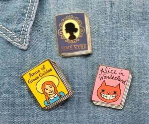 alice in wonderland, anne of green gables, and pins image