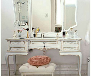 vintage, dressing table, and white image