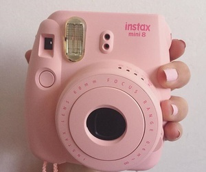 camera, instant, and pink image